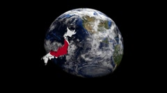 Japan map flag over rotating globe animation Stock Footage