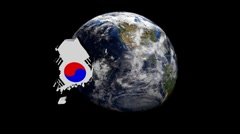Korea map flag over rotating globe animation - stock footage
