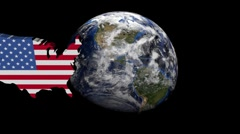 USA map flag over rotating globe animation - stock footage