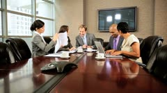 Five Multi Ethnic Business People in Team Meeting Stock Footage