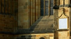 Pan on wall - architecture details of cathedral Stock Footage