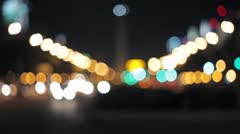Out of focus traffic lights - racks in focus *night* Stock Footage