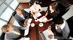 Overhead View of Multi Ethnic Business Team Stock Footage
