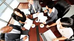 Overhead View of Modern Boardroom Meeting - stock footage