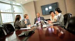 Multi Ethnic Business Team Boardroom Meeting Stock Footage