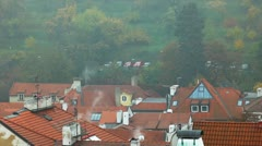 Old Prague roofs at autumn morning Stock Footage