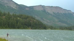 Wind at a mountain lake in the Rocky Mountains. Stock Footage