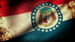 Missouri State Flag Waving, grunge look Stock Footage
