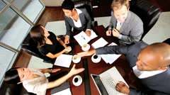Overhead View of Multi Ethnic Business Team Congratulations - stock footage
