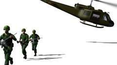Soldiers exiting from a UH-1 (matte) Stock Footage