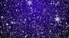 Snowfall on darkly blue background Stock Footage
