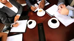 Overhead View of Business Team Congratulations - stock footage
