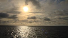 Overcast sky in the ocean - stock footage
