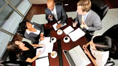 Overhead View of Multi Ethnic Business Team Success Stock Footage