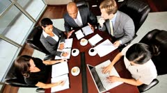 Multi Ethnic Business Executive Motivating Team Stock Footage