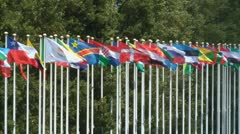 Countries flags - stock footage