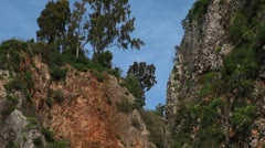 the Iyon Tanur waterfall and gorge in Israel. - stock footage