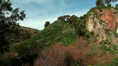 panorama of Iyon Tanur waterfall in Israel. - stock footage