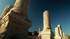 Broken columns at Beit She'an in Israel. Stock Footage