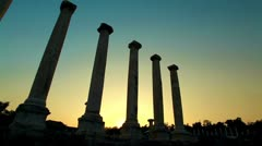 Ancient columns at sunset at Beit She'an in Israel. Stock Footage