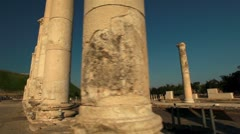Rows of columns at Beit She'an in Israel. Stock Footage