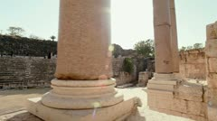 Columns at the theater at Beit She'an in Israel. Stock Footage
