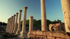 Ionic order columns at Beit She'an in Israel. Stock Footage