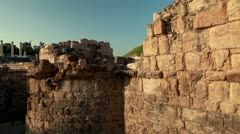 Stone walls at Beit She'an in Israel. Stock Footage