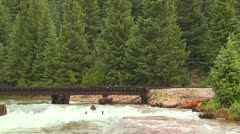 A beautiful shot of a steam train crossing a bridge over a roaring river in the Stock Footage