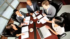 Business Executive Pep Talk in Boardroom Meeting Stock Footage
