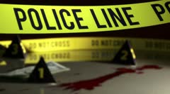 Crime Investigation, police line, bloodstains Stock Footage
