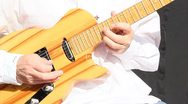 Boomer playing electric guitar Stock Footage