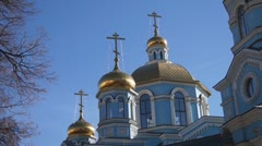 Russian Orthodox Church. Golden domes. The Cathedral. Stock Footage