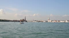 Skyline and view of Venice from Grand Canal Stock Footage