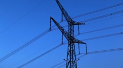 A tower and power lines against the blue sky in Israel. Stock Footage