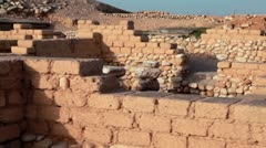 Building ruins at Tel Be'er Sheva in Israel. Stock Footage