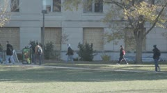 Stock Footage College Students Campus in Fall - Walking to class - stock footage