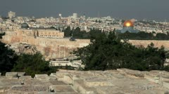 The Temple Mount from the Jewish Cemetery in Jerusalem, Israel. Stock Footage