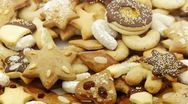 Close up of several different cookies looping Stock Footage