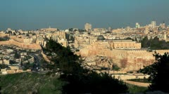Panorama of Old Jerusalem and its walls in Israel. Stock Footage