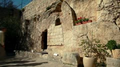 Tourists at the Garden Tomb in Israel. Stock Footage