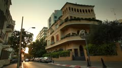 Colorful buildings on a Tel Aviv Street in Israel. Stock Footage