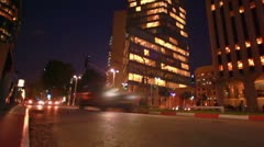 A Tel Aviv street at night in Israel. Stock Footage