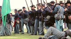 Union Soldiers Falling in Line and Firing Stock Footage