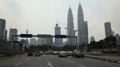 Time Lapse of Petronas Twin Towers in Kuala Lumpur, Malaysia, Skysrapers Stock Footage