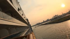 View from the deck of a ship at sea timelapse Stock Footage