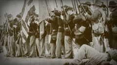 Old Film Processed Union Soldiers Falling in Line and Firing Stock Footage