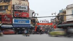 Time Lapse of The Bustling Street Scene Of Hanoi, Vietnam, Old Town, Motorcycles Stock Footage
