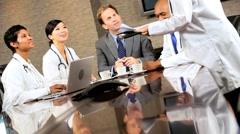 Five Multi Ethnic Medical People in Team Meeting - stock footage
