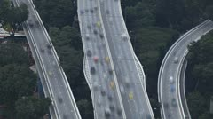 People Commute Home to Work, City Bridges, Time Lapse Singapore Highway Freeway Stock Footage